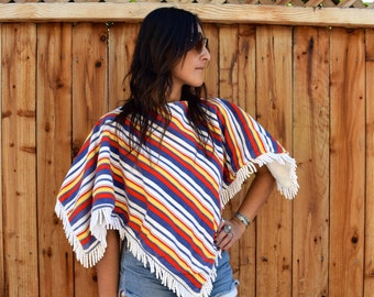 Vintage 60s 70s Striped PONCHO Capelet Bathing Suit COVER UP