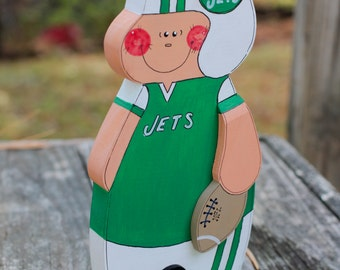"""New York Jets 8"""" - Wooden Football Player - Handmade Wood Figure - Gift for NY Jets Fan"""