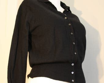 "1950s 100% Cashmere Cardigan: Black 1950s Downen Fitted ""Sweater Girl"" S M"