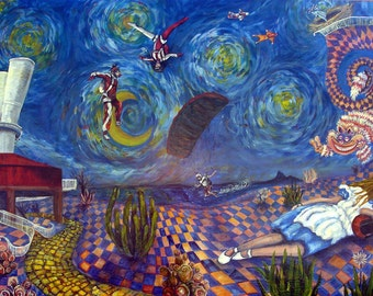 "Skydiving Art Print LARGE Alice Dreams of Skydive Arizona 10"" x 20"" Parachute Wind Tunnel Wonderland"