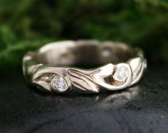 Multi Diamond Wedding Band, Engagement Band, 14k White Gold, Gypsy Set, Floral Pattern Handmade, 4mm Width, Leaf Motif, Stacking Ring