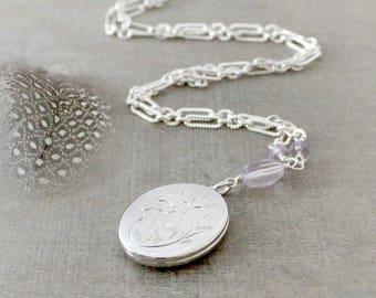 Vintage Oval Locket, Sterling Silver Locket Necklace Pink Amethyst Necklace October Birthstone Locket, Silver Photo Locket Push Gift for Mom