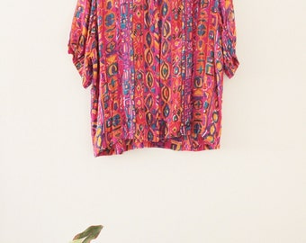 90's Colorful Summer Blouse