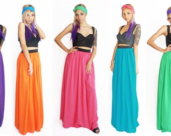 Maxi Skirt Boho Turquoise or Pink Rayon Elastic Waistband Summer Fashion