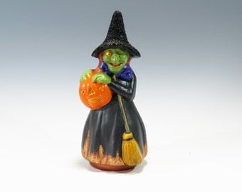 Chalkware Witch Halloween Witch Chalkware Witch Halloween Pumpkin Witch Holding a Pumpkin