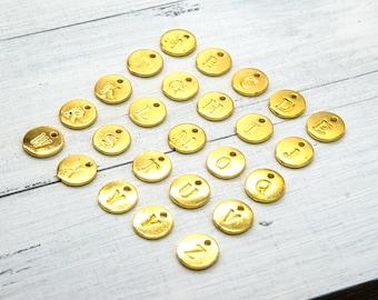 Alphabet Letter  Charms, 25pcs, Gold Tone, Round Letters -C828