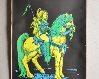 "Vintage Blacklight Poster Neon ""Atillas Mate"" Female Goddess Houston Blacklight Poster Company  1970s"