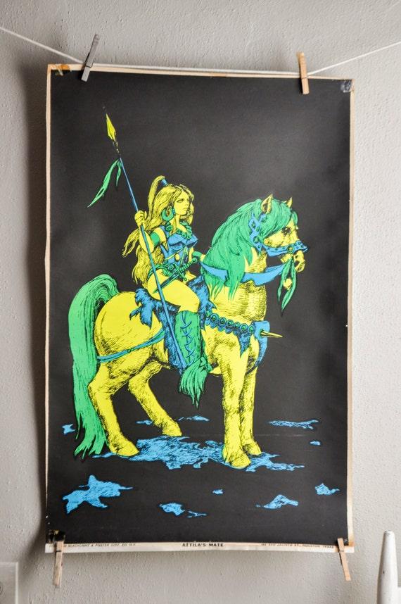 Vintage Blacklight Poster Neon Atillas Mate Female