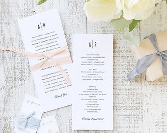 Instant Printable Wedding Program Template | INSTANT DOWNLOAD | Modern | Flat Tea Length | Editable Colors | Mac or PC | Word & Pages
