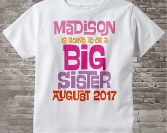 Big Sister Shirt | Girl's Personalized Pink and Purple Big Sister Shirt or Onesie | Infant, Toddler or Youth Due Date and Name (02062014g)