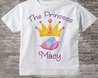 3rd Birthday shirt, Personalized Princess Third Birthday Girl Tee Shirt or Onesie any Age 03042014g