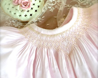 Shower Newborn Gift Baby Blush Hand Smocked Sweet Heart Girl Vintage Inspired Size NB  to 4 Matching Dress and Bonnet