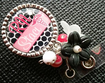 Personalized ID Badge Reels- Rn Lvn Cna - Medical - Hot Pink and Black Dots with Swavorski Rhinestone