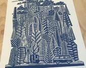 RESERVED - Camper Decor - Mountain Art Print - Rock Climbing - Lino Print - Campervan  - Linocut - Lake Tahoe - Yosemite - PNW
