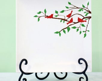 Red Bird Serving Plate // 8 inch Square Plate // Coupe Style Plate // Hand Painted Plate for Wedding