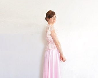 pastel floral pink boho bridesmaid dress . 3 pc set . sheer ruffle blouse and sash .extra small.xs