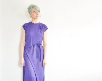 semi sheer royal purple dress . cap sleeves . matching sash .extra small.small.medium.xs .sale