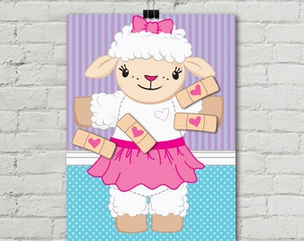 Doc Party - Doc Mc Stuffins Pin the Bandaid on Lambie - Birthday Party, Party Games, Activity Game | INSTANT Download PDF - Printable Game