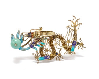 Chinese Export Vermeil & Enamel Filigree Dragon Brooch