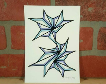 5 X 7 Original freehand drawing marker on watercolor paper NOT a print modern home decor small affordable art abstract contemporary blues