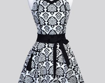 Sweetheart 50s Womens Apron , Black and Linen Elegant Damask Retro Vintage Style Full Pin Up Kitchen Cooking Apron with Fitted Bodice