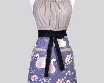 Cute Kitsch Womens Apron / Organic Ollie the Swan Retro Vintage Style Kitchen Chef Cooking Apron with Pockets