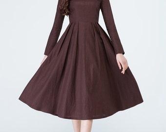 brown dress, linen dress, long sleeves dress, party dress, handmade dress, elegant dress, retro dress, midi dress, ladies dresses 1700