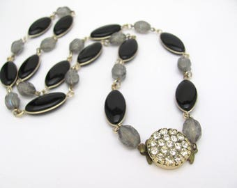 Vintage Beaded Necklace, Black Glass Gray AB Lucite Beads, Rhinestone Clasp West Germany Black Gray Vintage Necklace, 27 Inch Long