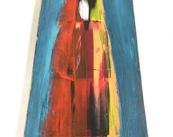 5.5 x 12 Abstract Art Acrylic Painting on wood board Ready to hang with hanger Contemporary Modern Paint Mixed Media
