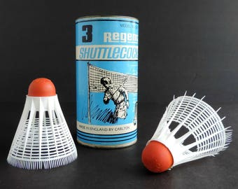 Vintage Carlton Regent Badminton Shuttlecocks Container and Two Birdies, Made in England, Mid-Century Racquet Sports