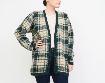ON SALE Plaid Cardigan - 90s Cardigan MOHAIR Sweater Button Down Oversize Cardigan - Grunge Jumper - Preppy Cardigan Cream Green - size M L