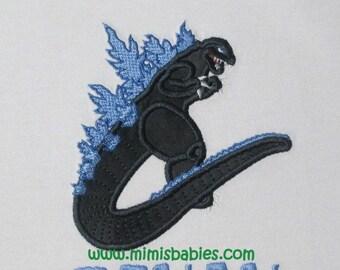 Godzilla Birthday Shirt, Godzilla in Black and Blue Colors