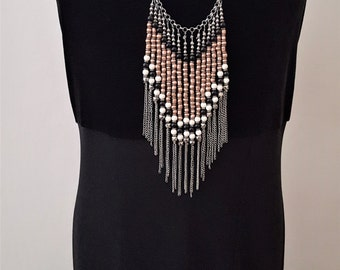 KNOCKOUT!!!!! This necklace is STUNNING. Beaded Silver Fringe Necklace. Fringe Silver Necklace. Holiday Necklace. Statement Necklace Silver
