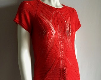 Vintage Women's 80's Red, Knit Sweater, Short Sleeve, Woven Top (S)