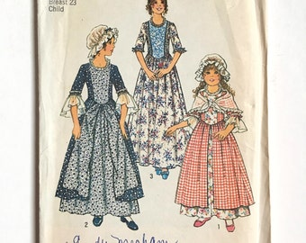 Vintage Sewing Pattern, Girls, 70's Uncut, Simplicity 6828, Dress, Cap, Shawl (S)