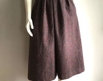Vintage Women's 70's Wool Culottes, Purple, Fully Lined, Gaucho Pants (XS)