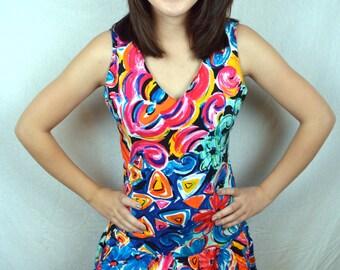 Vintage 80s Rainbow Summer Dress - Express Campagnie Internationale