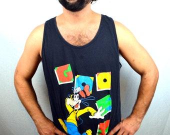 Vintage 90s Disney Goofy Walt Disney Black Shirt Tank Top