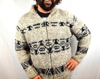 Vintage Cowichan Cardigan Wool Winter Slopes Snow Lodge Sweater