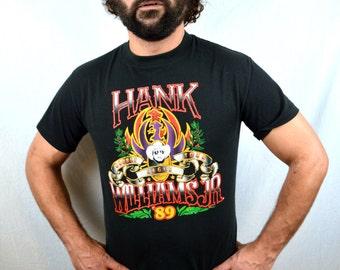 Vintage 1989 80s Hank William Jr Concert Tour Tee Shirt TShirt - Double Eagle Tour