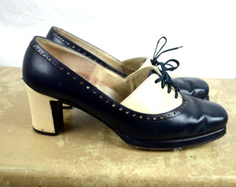 Vintage Wingtip Oxford White Preppy Heeled Lace Up Booties - 6 1/2 B