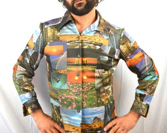 Vintage 1970s Photo Print Button up Shirt