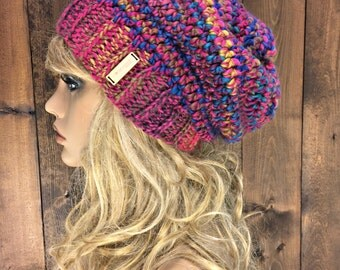 Crochet Slouch Beanie with Real Wood Button / DEEP WOODS / Sunset