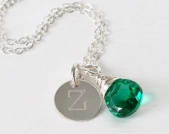 Personalized Initial Necklace / May Birthstone Necklace / Push Present May Baby / Sterling Silver Handstamped Necklace