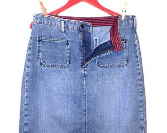 polo jeans co denim patch pocket knee skirt