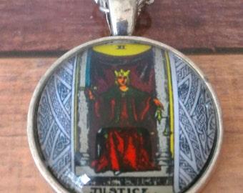 Tarot Card Necklace -- Justice