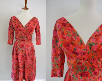 Vintage 1950s Bombshell Pin-up Wiggle Dress | Pink Flowers on Red Background | Plunging Neckline | Ruched | Silk