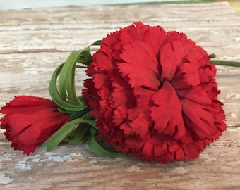 Vintage MILLINERY ~ Red Carnations ~ HAT FLOWER ~ Millinery Flowers ~ Vintage Hat Decoration ~ Carnation Flowers ~ Wedding Bouquet ~ Corsage