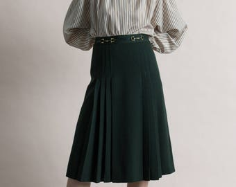 Vintage 80s Céline Dark Green Wool Pleated Skirt / Designer Vintage / Size 8