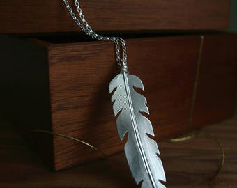 Silver Feather Necklace | Long Feather Pendant | Boho Silver Jewelry | Nature Jewelry | Sterling Silver Feather | Handmade in UK